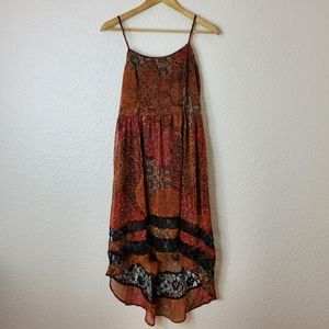 Band Of Gypsies  Red/Orange Boho Hi-Low Dress